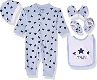 Papillon Star Print Clothing Set for Girls, 5 Pieces - Baby Blue, 0-3 Months