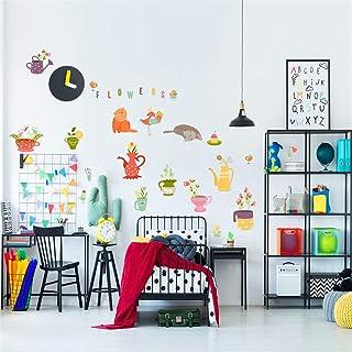 RTLJN Wall stickersGatito Flor en maceta pegatinas de pared creativas sala de niños de Kindergarten dibujos