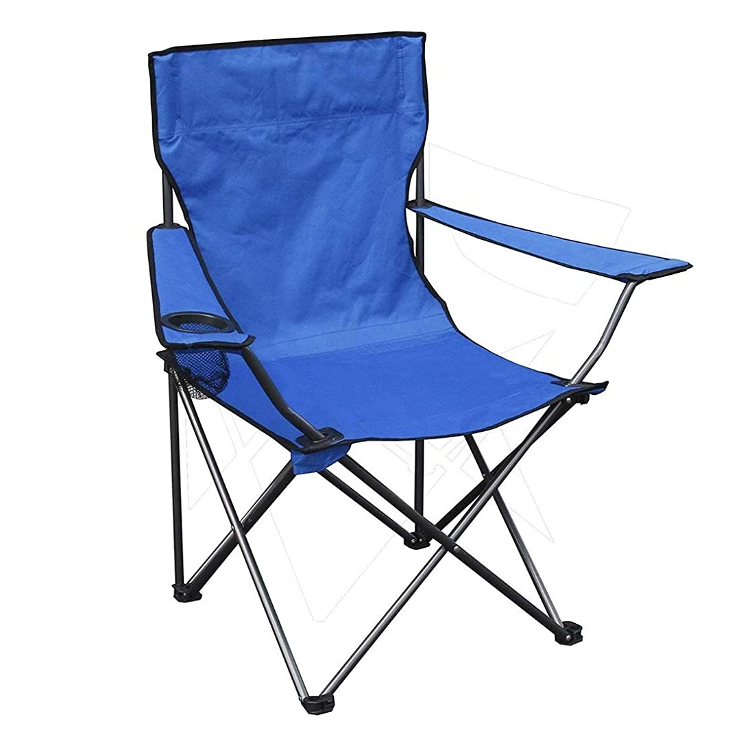 招待致命的なスラム携帯用折りたたみ式ビーチチェア、アームレストカップホルダーと携帯用収納袋、アウトドア釣りとレジャースポーツ (Color : Blue)