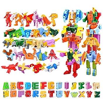Owlhouse Alphabet Robot 26 Letter Alphabet Deformation Toy Educational Toy ABC Animal Dinosaur Deforamtiao Transformation Robot Toys for Children