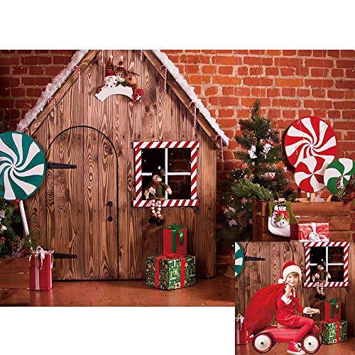 Allenjoy Christmas Winter Brick Wall Wood House Backdrop Lollipop Gifts Pine Indoor Children Kids Newborn Photography Banner 7x5ft Baby Shower Portrait Photoshoot Background Photo Studio Booth Props
