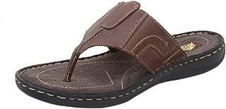 Athlego Men's Leather Brown Clor Flip-Flops & Slippers