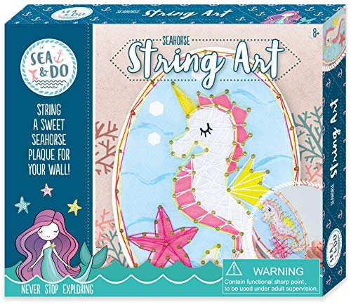 Sea & Do Unicorn Seahorse String Art Picture Kit for Tweens from Bright Stripes - Kids Arts and Crafts Kit - Fun Creative Activity Includes Predrilled Plaque, String, Nails, and Hammer