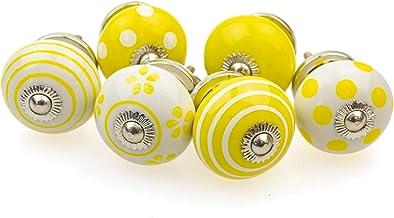 Möbelknopp möbelknopp möbelhandtag set om 6 093GN punkter cirklar prickar vit gul – jay knapp keramik porslin handmålade v...