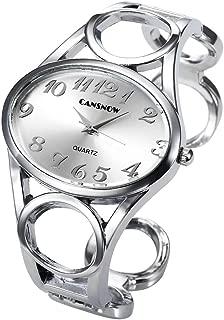 Women Fashion Silver Tone Circle Band Arabic Numeral Scale Bangle Cuff Dress Bracelet Watch - Valentine's Day Gift