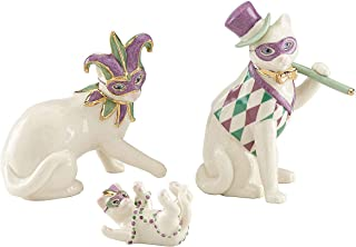 Lenox Cat Family Mardi Gras Masks Costume New Orleans Figurine 3 Piece Figurine Kitten Party Set