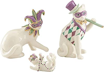 Lenox Cat Family Mardi Gras Masks Costume New Orleans Figurine 3 Piece Figurine Kitten Party Set