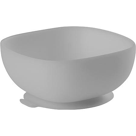 BÉABA - Ciotola in Silicone con Ventose, Scodella per Neonati e Bambini, Antiscivolo, Aderisce Ottimamente al Tavolo o al ripiano del Seggiolone, Compatibile con Microonde, Grigio