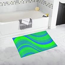 Green Blue Waves Abstracts Retro Custom Non-slip Bath Mat Rug Bath Doormat Floor Rug For Bathroom 20 X 32 Inch