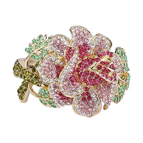 EVER FAITH Women's Austrian Crystal Flower Leaf Bangle Bracelet Pink Gold-Tone