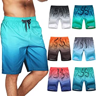 Civilever Men's Swim Trunks, Quick Dry Gradient Color Beach Shorts Watershorts Holiday Casual Sports Wear with Pockets and...