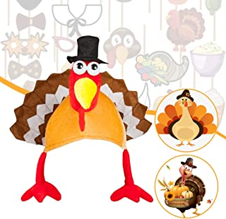 Fuxjlzpbog Roasted Turkey Hat for Thanksgiving Day Turkey Hat Plush, Funny Party Hats Animal Hat