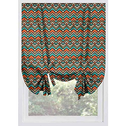 LCGGDB Colorful Blackout Tie Up Shades Panels,Ornamental Chevron Stripes Thermal Insulated Blackout Curtain Tie Up Shade for Small Window,Window Valance Balloon Blind, Rod Pocket Panel,32'x55'