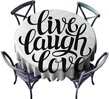 ScottDecor Dining Round Tablecloth Live Laugh Love,Simplistic Inspiration Quote Minimalist Featured Typography Design,Black and White Wrinkle Free Tablecloths Diameter 54""