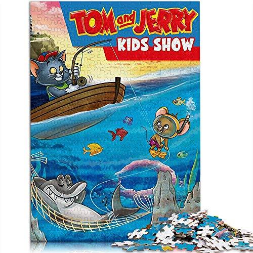 PThome05 - Puzzle de 500 piezas para adultos y adolescentes Tom y Jerry para espectáculos de niños, póster de programa de televisión clásico rompecabezas de la familia