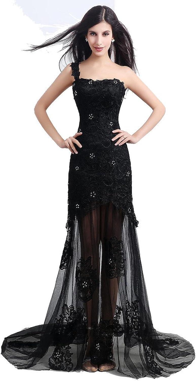 JoyVany Mermaid Evening Dresses Sheer Skirt One Shoulder Lace Formal Dresses