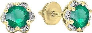 10K Round Ladies Flower Shape Cluster Stud Earrings, Yellow Gold