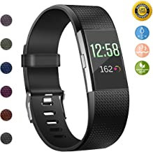 JOMOQ Replacement Bands Compatible for Fitbit Charge 2, Adjustable Breathable Sport Wristbands Silicone Accessories Women Men (Small, Black)