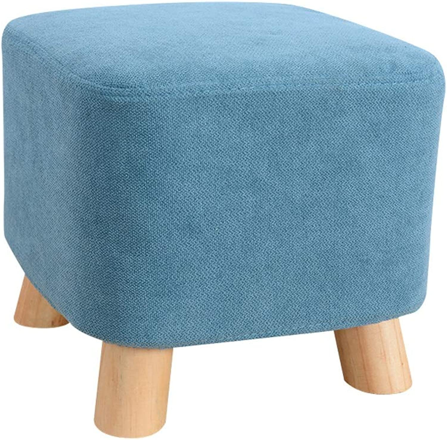 LSLMCS Sofa Stool,Square Buffer Footstool Chair StoolFabric Cover 4 Legs Stool and Detachable Linen Cover {bluee}