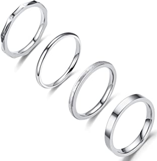Jewdreamer 4Pcs 2-3mm Stainless Steel Women's Stackable Eternity Plain Band Knuckle Rings Engagement Wedding Ring Set 6-11