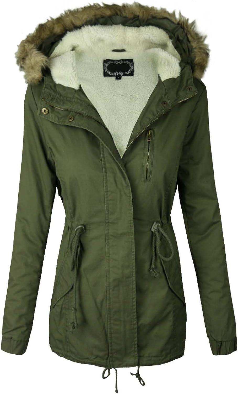 Makeitmint Women's Sherpa Lined Hood Military Jacket w Detachable Fur [S3XL]