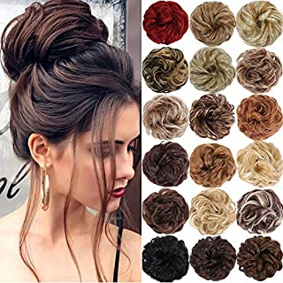 Messy Buns Hair Piece for Women Juva Bun Hair Scrunchies Extension Wavy Curly Messy Donut Chignons Hairpiece (2/99J(Natura...