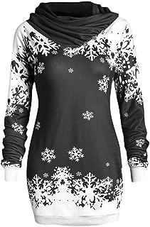 Fashion Women Merry Christmas Snowflake Printed Tops Cowl Neck Sweatshirt Blouse