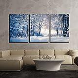 wall26 - Winter Landscape in Snowy Forest - Canvas Art - 16'x24'x3 Panels