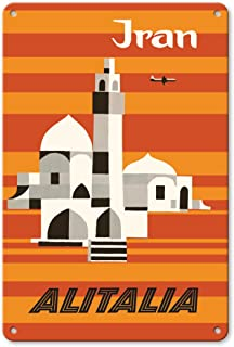 22cm x 30cmヴィンテージハワイアンティンサイン - イラン - アリタリア航空 - 中東 - ビンテージな航空会社のポスター によって作成された エンニオ・モリナリ c.1960s