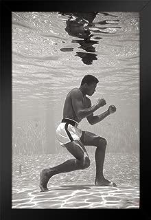 Pyramid America Muhammad Ali Posing Underwater Sports Black Wood Framed Poster 14x20 inch