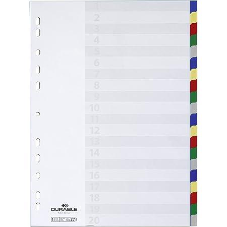 Durable 675827 Lot de 20 intercalaires en plastique avec perforation universelle et onglets colorés