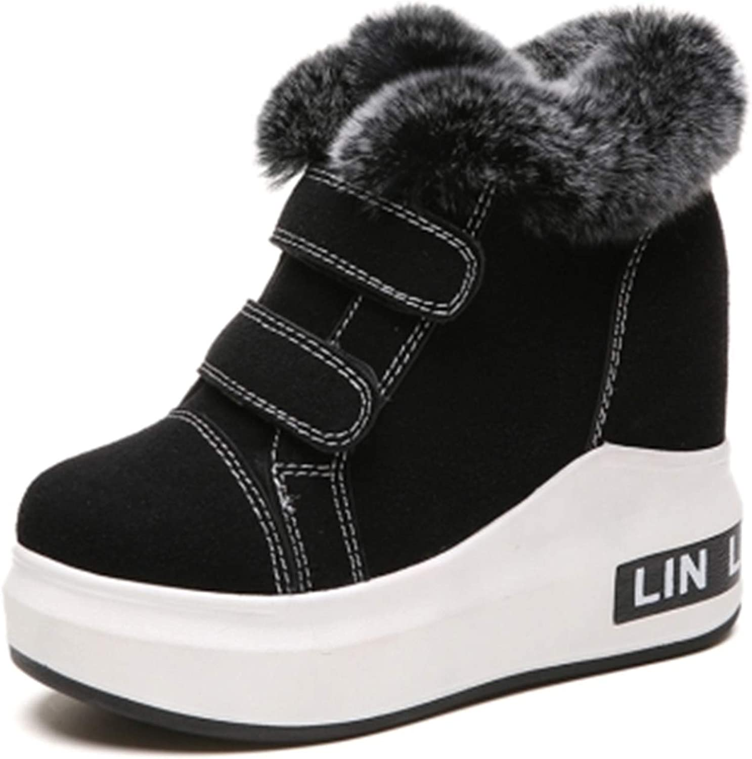 Kongsta New Winter Fur Ankle Boots Woman Platform shoes Keep Warm Snow Boots Casual Women Plush Women's Height Increased shoes Sneakers