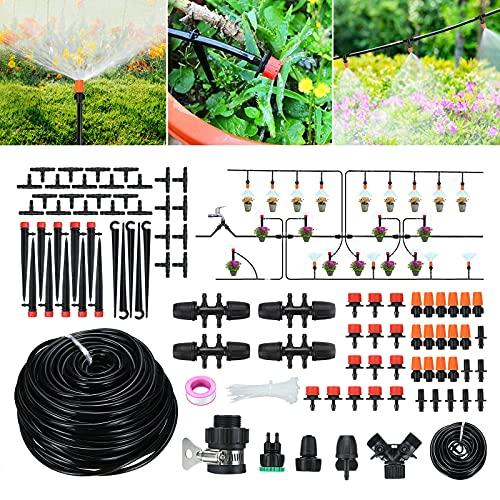 Tvirdeally Irrigation System, 45m/147ft Micro Drip Irrigation Kit, 164PCS Garden irrigation System...