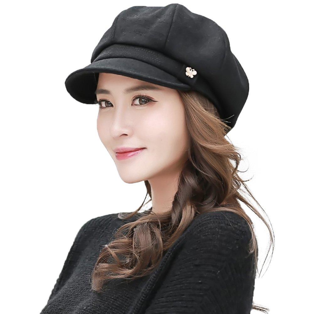 QMKJ Ladies Baker Boy Newsboy Cabbie Cap Visor Beret Peaked Winter Hat for Women Womens Wool Blend Visor Beret gray black red white
