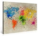 Picanova Weltkarte Aquarell Explosion 100x75cm – Premium Leinwanddruck – Kunstdruck Auf 2cm Holz-Keilrahmen für Schlaf-und Wohnzimmer Stampa su Tela, Multicolore, 100 x 75 cm