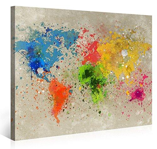 Gallery of Innovative Art Impresión Giclée sobre Lienzo, Tamaño Grande, Arte en Pared - Mapamundi Pastilla de Explosión - 100x75cm - Lienzo Ilustrado de Montado sobre Marco de Madera