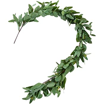 Belle Fleur Artificial Silver Dollar Seeded Eucalyptus Garland 5FT - Leaves Greenery Garland for Wedding Backdrop Centerpiece Decor