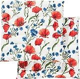REDBEST Stuhlkissen, Stuhlauflage, Sitzkissen 2er- Pack 100% Baumwolle mohnblume Größe 40x40x3 cm...