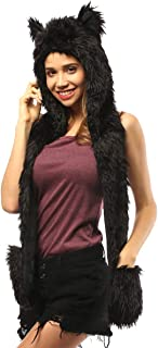 Faux Fur Animal Hat Scarf Gloves Mittens 3-in-3 Function Furry Hoodie with Paws Ears