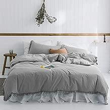 HYPREST Ruffled Duvet Cover Set Twin Kids Grey Solid Color Vintage Bedding Set Exquisite Flouncing Quilt Cover with Zipper