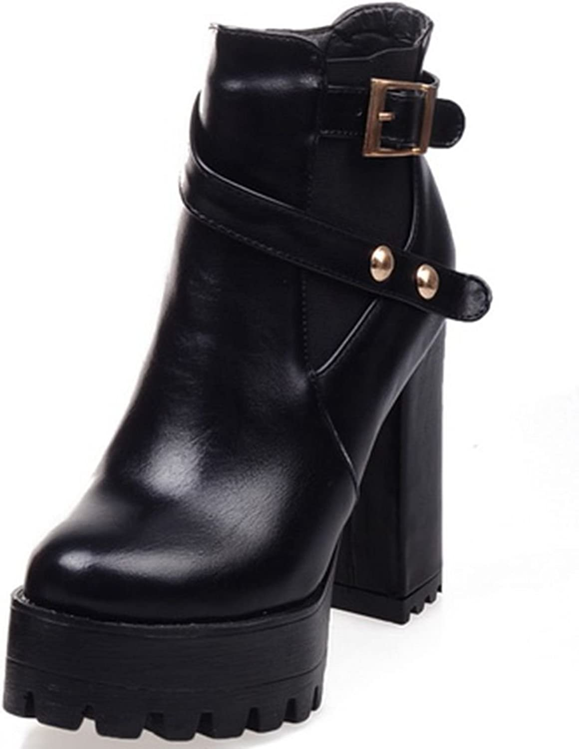 DoraTasia Mature Cow Leather Nubuck Buckle Strap Women's Ankle High Boots