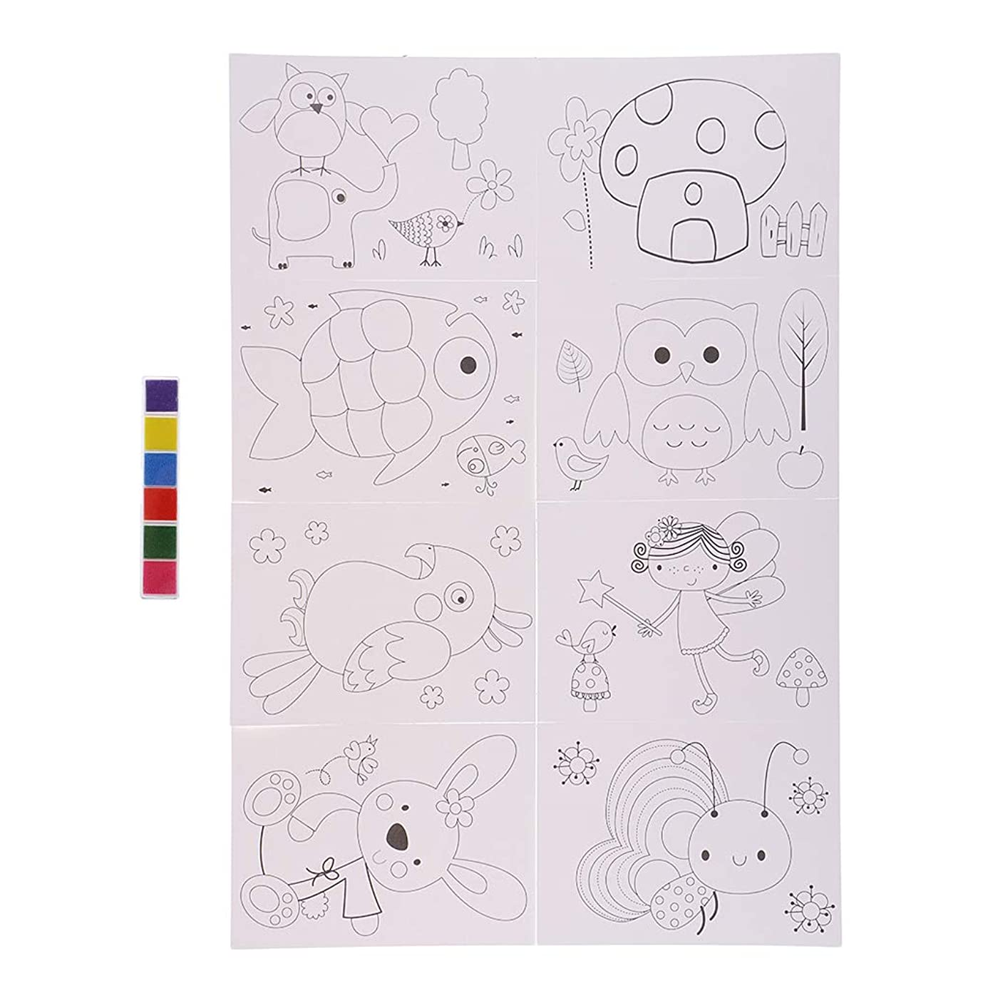 Prettyia 6 Color Finger Paints Ink Pad with 8pcs White Painting Paper for Kid Children DIY Craft Game Toy emh5567644