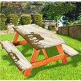 LEWIS FRANKLIN - Mantel ajustable para mesa de picnic y banco, diseño de bosque de lago río bosque, con borde elástico salvaje, 70 x 72 cm, juego de 3 piezas para mesa plegable