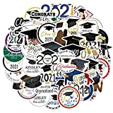 50Pcs Graduation Stickers Class of 2021 Vinyl Waterproof Graduation Party Stickers for Laptop,Bumper,Water Bottles,Computer,Phone,Hard hat,Car Stickers and Decals (Graduation)