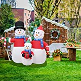 Leisurelife 7.2FT Inflatable Snowman Christmas Decoration Outdoor - 3 Snowmen Family, Blow Up Christmas Yard Decoration