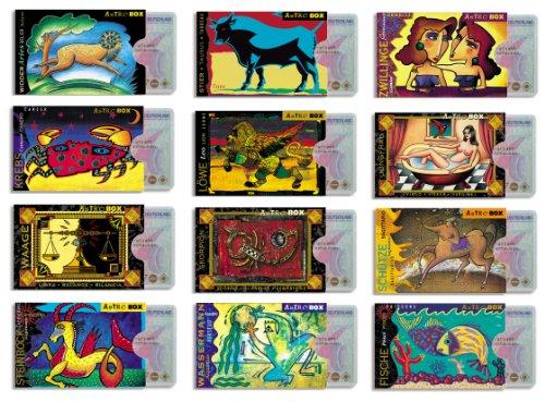 cardbox HOROSKOP Set/Motive: Sternzeichen / 12 Kartenhüllen /// Widder, Stier, Zwillinge, Krebs, Löwe, Jungfrau, Waage, Skorpion, Schütze, Steinbock, Wassermann, Fische