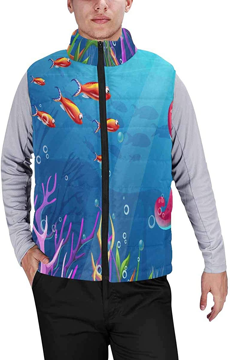 InterestPrint Warm Outdoor Sleeveless Stand Collar Vest for Men Fish, Turtle, Jellyfish and Corals