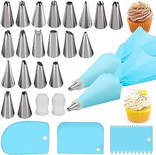 کیسه لوله سیلیکون آیسینگ ، کیسه شیرینی خامه ای قابل استفاده مجدد و ابزار تزئینی کیک DIY نازل استیل 14 ((14 × نازل ، 2 Bag کیسه شیرینی خامه ای آیسینگ و 2 مبدل X و 3 × تراشنده) [کلاس انرژی A]