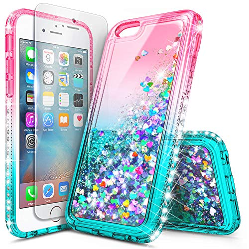 iPhone 5 Case, iPhone 5S, iPhone SE Case with Screen Protector, NageBee Glitter Liquid Quicksand Waterfall Floating Sparkle Bling Diamond Women Girls Kids Cute Durable Case -Pink/Aqua