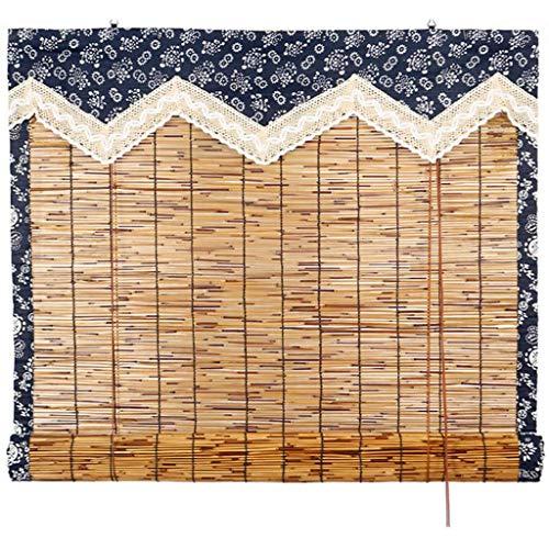 LYEC3 Cortina Romana de láminas Naturales Tejidas a Mano con persianas Romanas, Ventana Enrollable de bambú de carbonización Retro, sombrilla para el hogar, tamaño Personalizable(1 x 2m/39 * 79in)